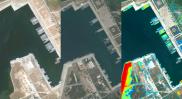 Aus dem All werden die Schiffsbewegungen in Häfen registriert – natürlich automatisch. Aber auch Bautätigkeiten. Die Algorithmen erkennen, wenn auf einmal Land ist, wo vorher Wasser war. Quelle: SpaceKnow