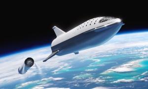 Die geplante BFR nach der Trennung von der erster Stufe und Raumschiff. Bild: SpaceX