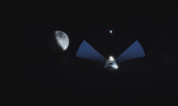 Die geplante BFR vor Erde und Mond. Hier zu sehen ist das vorletzte Design der Rakete. Bild: SpaceX