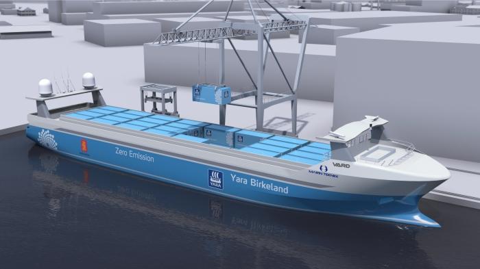 Die Yara Birkeland - der erste selbstfahrende Frachter der Welt wird kommendes Jahr in See stechen. Bild: Kongsberg Gruppen