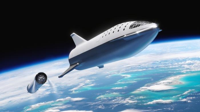 Das Starship von SpaceX in künstlerischer Darstellung, nachdem es sich von der Hauptstufe getrennt hat, die zur erde zurückkehrt. Laut den Plänen von SpaceX-Gründer Elon Musk soll auch das Starship aus eigener Kraft mit seinem Triebwerken auf der Erde landen können. (Bild: SpaceX)