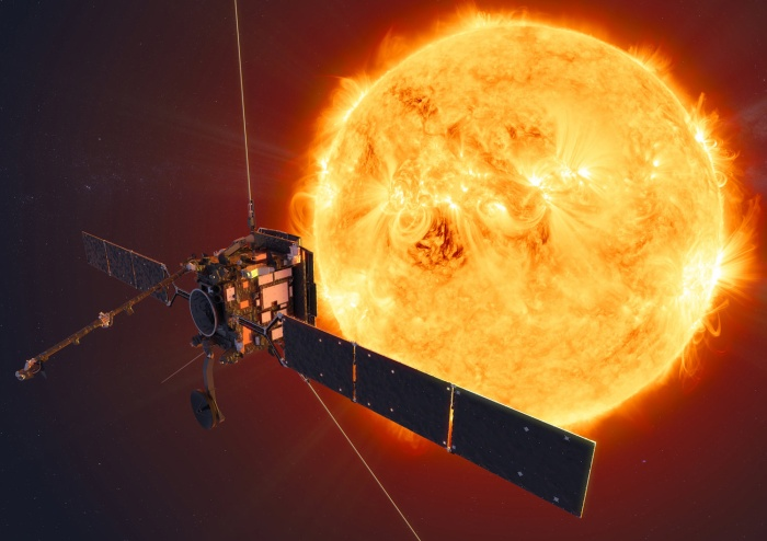 Künstlerische Darstellung des Solar Orbiter vor der Sonne (Bild: ESA)