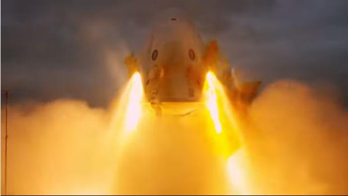 Die SpaceX-Raumkapsel CrewDragon während eines Startabbruch-Tests. Bild: SpaceX