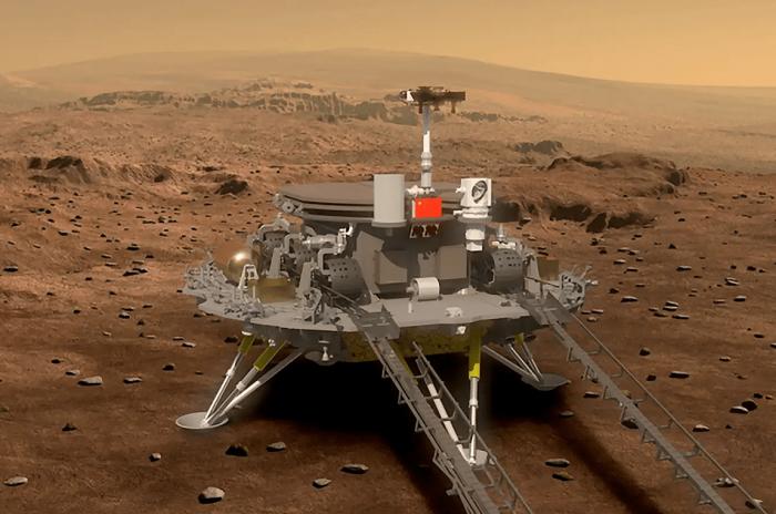 Tianwen-1 auf dem Mars: Nach der Landung wird der Rover vom Lander herabrollen